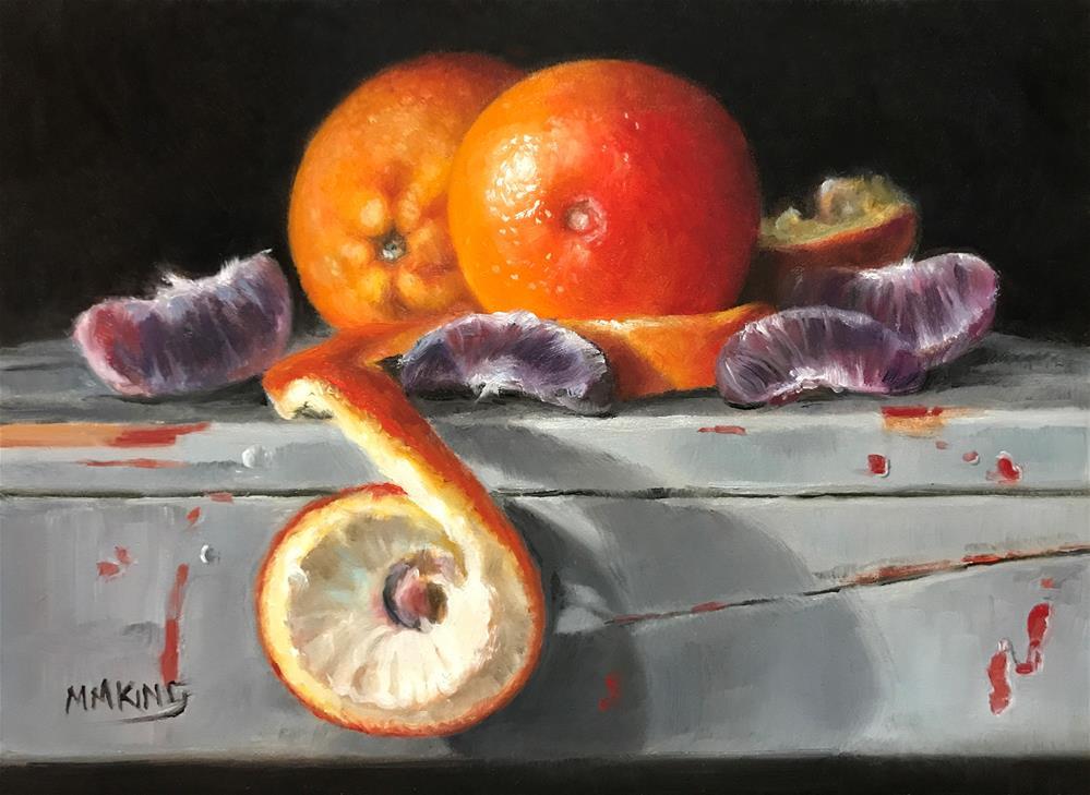 """Blood Orange on Gray Stool"" original fine art by Marilyn M King"