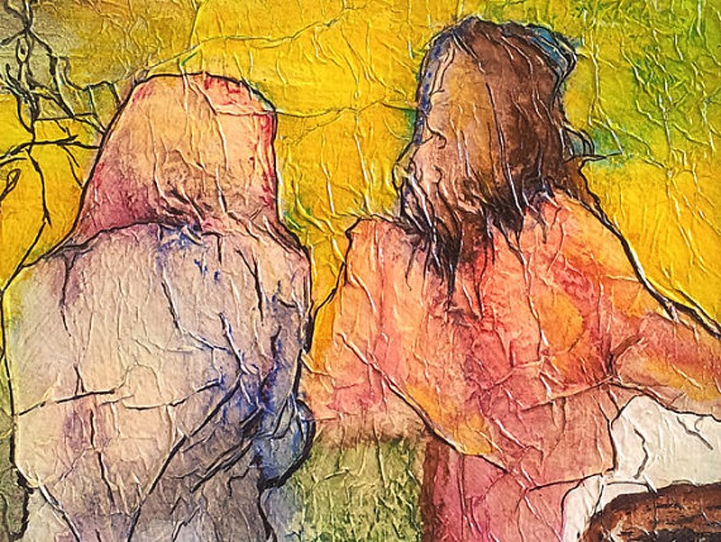 """Watercolor on Tissue Walking Home Zen Inspired"" original fine art by lynne french"