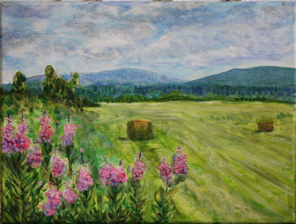 """""""Fireweed and Hay"""" original fine art by Terri-Anne Barge"""