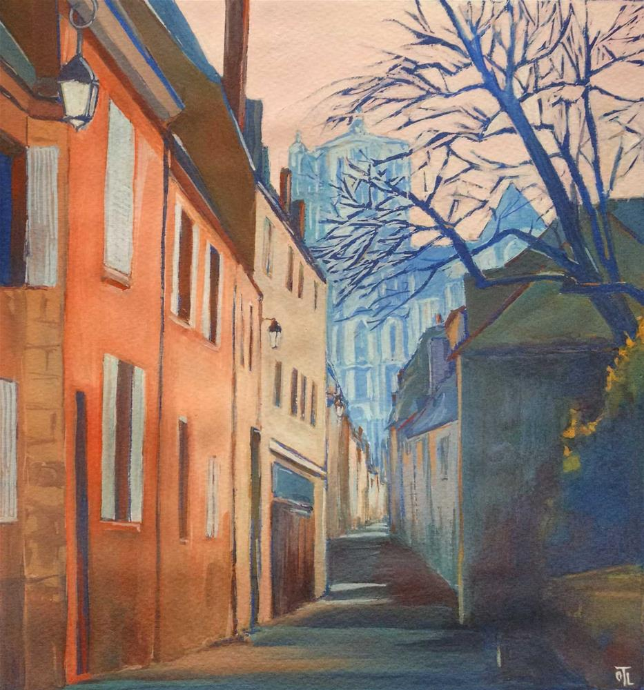"""""""Bourges, street to the Cathedral"""" original fine art by Olga Touboltseva-Lefort"""