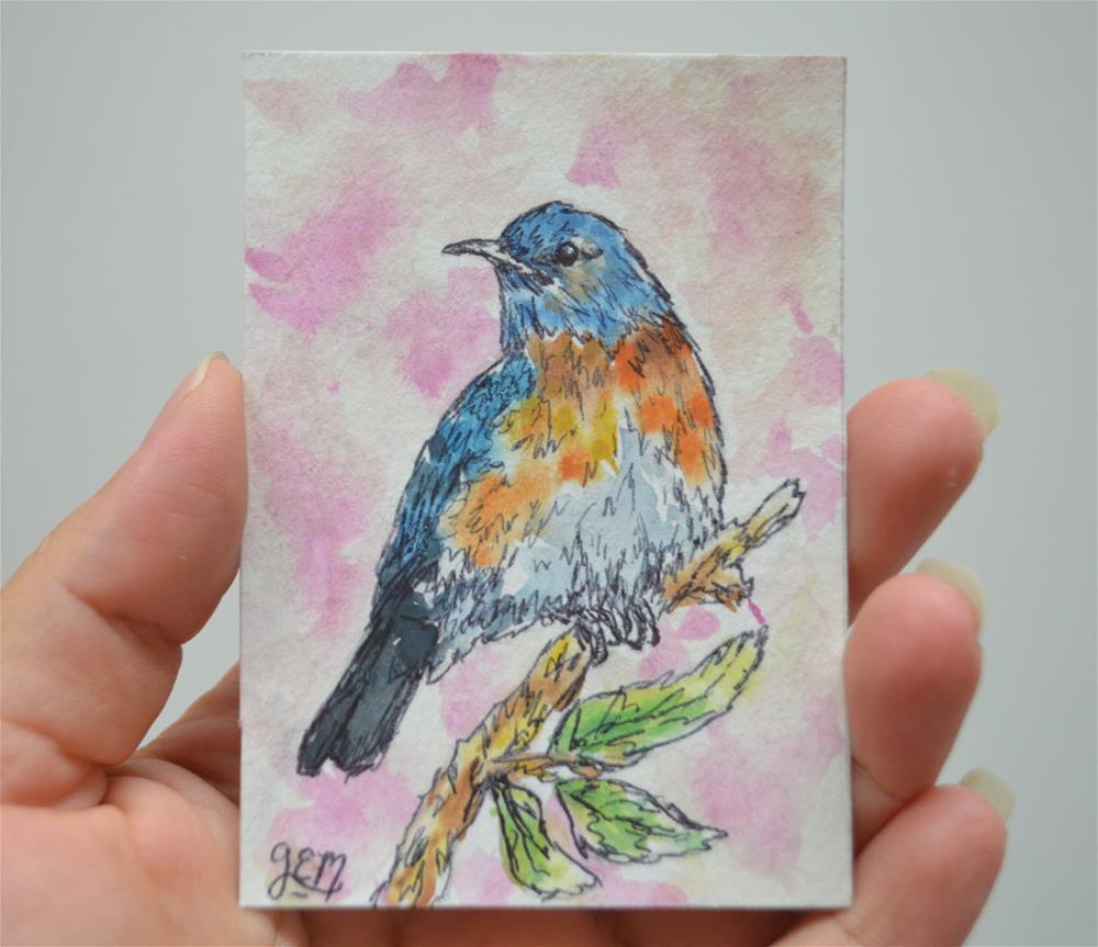 """Bluebird Watercolor ACEO"" original fine art by Gloria Ester"