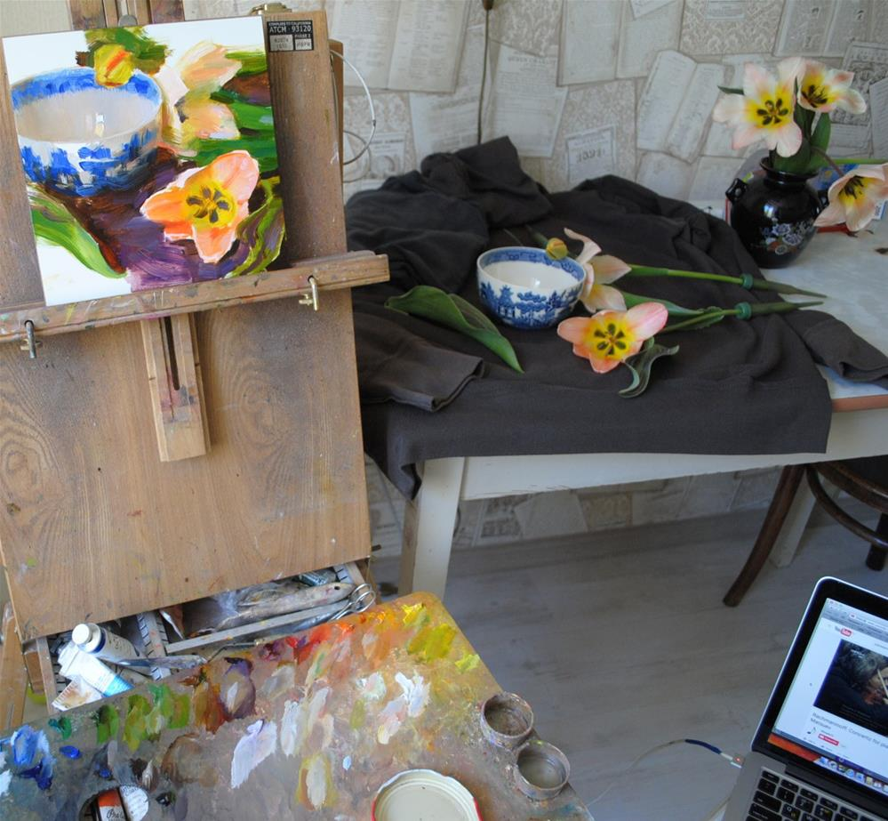 """Blue Bowl and Tulips"" original fine art by Elena Katsyura"