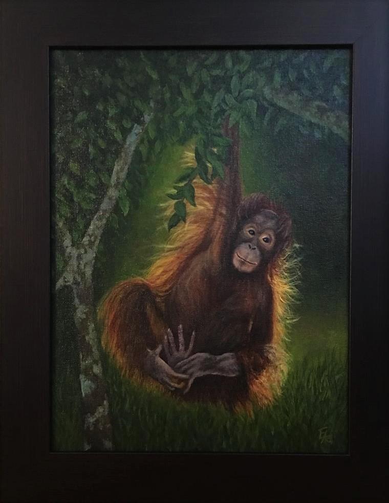 """""""Baby O Hangin' Out, Framed"""" original fine art by Elizabeth Elgin"""