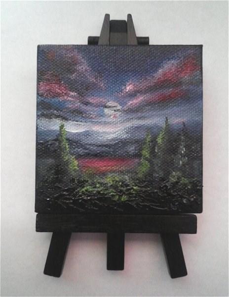 """Moonlit Landscape"" original fine art by Camille Morgan"