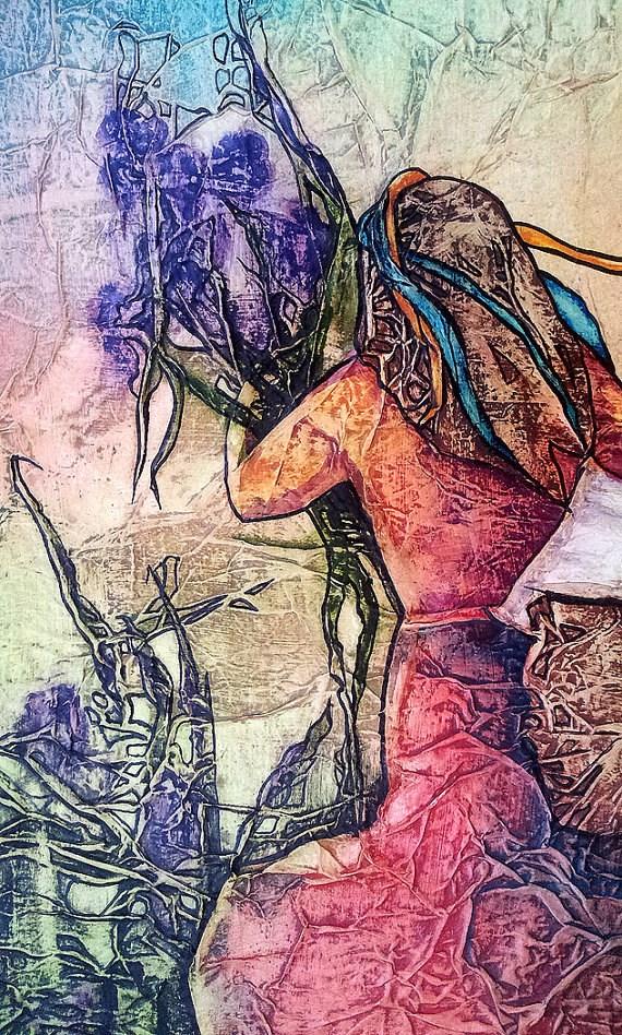 """Zen Inspired Wild Irises & Laundry Watercolor on Tissue"" original fine art by lynne french"