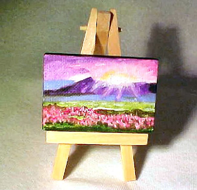 """""""Purple Mountains Sunset  Mini Painting with Easel"""" original fine art by Patricia Ann Rizzo"""
