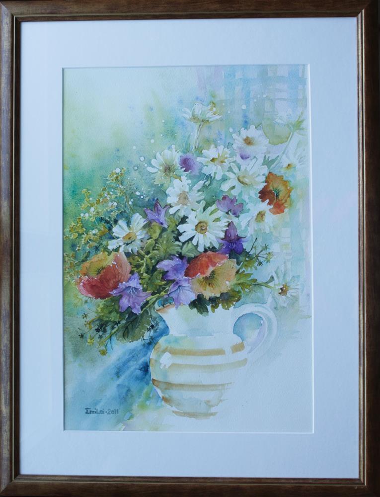 """Summer Flowers In a Jug"" original fine art by Emilia Leinonen"