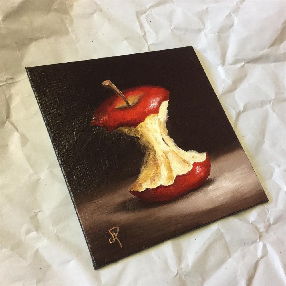 """Red Apple core"" original fine art by Jane Palmer"