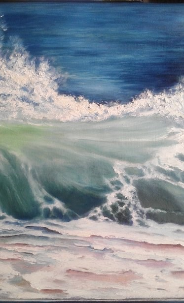 """Wave Crashing on Beach"" original fine art by Camille Morgan"