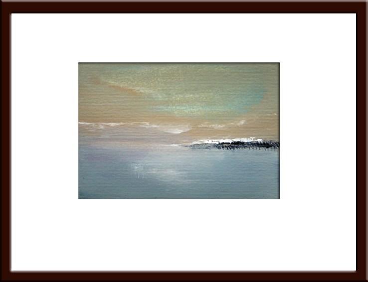"""Still Cold - Blue Beige Abstract Landscape"" original fine art by Alina Frent"