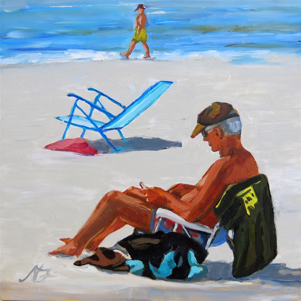"""Blue Beach Chair"" original fine art by Nancy Fairchild"