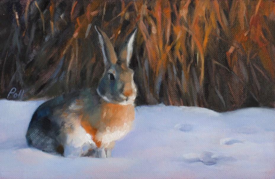 """""""Sundown Cottontail (framed)"""" original fine art by Pamela Poll"""