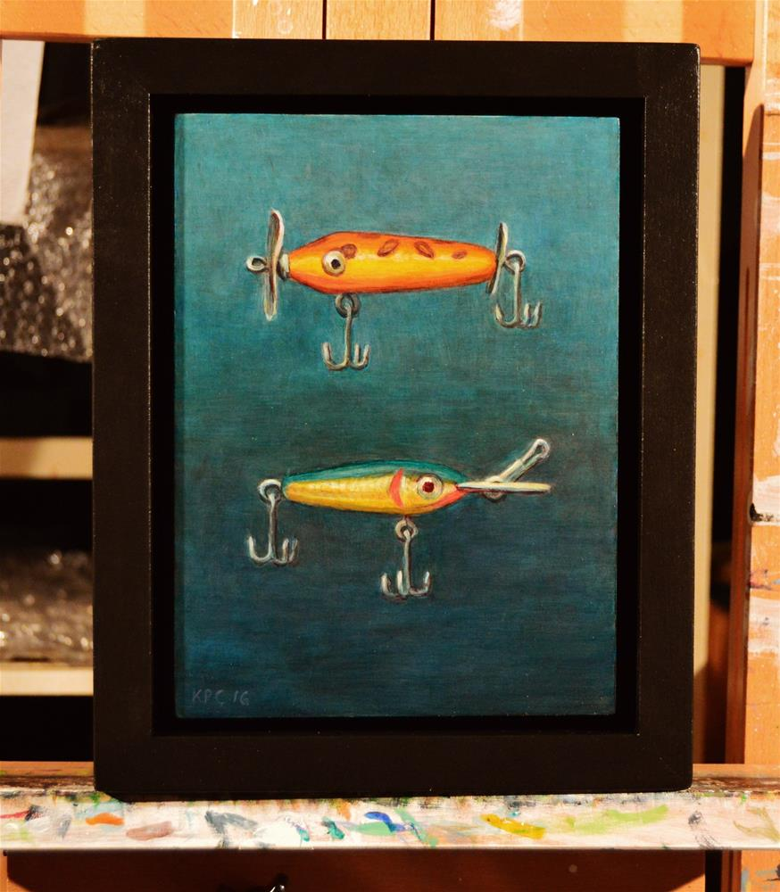 """""""Two Lures.  Original Oil Painting by Kenneth P. Cobb.  6 x 8 inches"""" original fine art by Kenneth Cobb"""