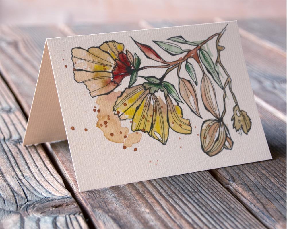 """""""Golden Bloom card"""" original fine art by Tonya Doughty"""