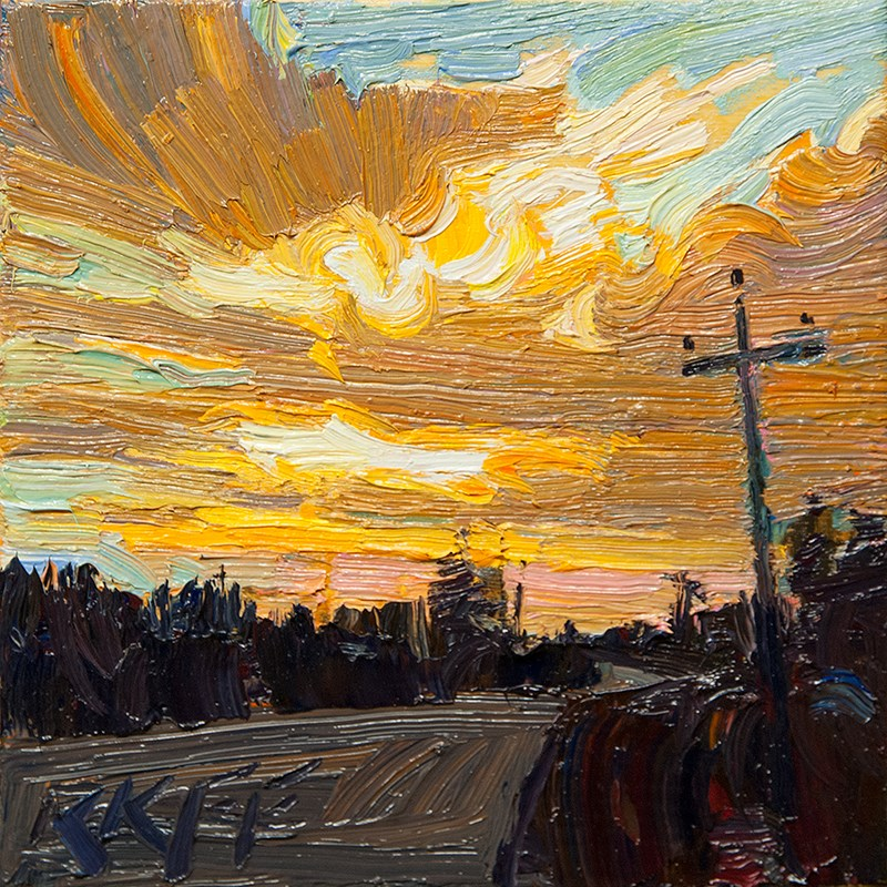"""Sunrise Road:  6x6 oil on panel"" original fine art by Ken Faulks"