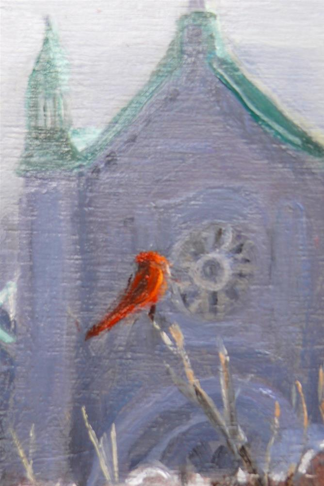 """1131 The Cardinal and the Cathedral, 8x10, oil on board"" original fine art by Darlene Young"