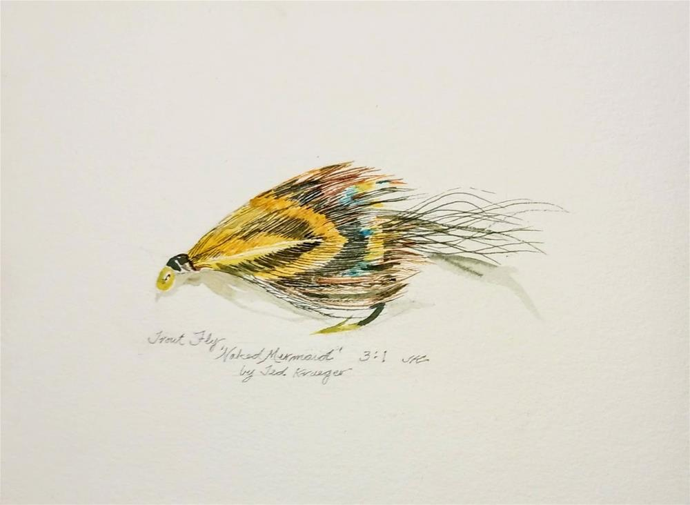 """'Naked Mermaid'-Trout Fly"" original fine art by Jean Krueger"