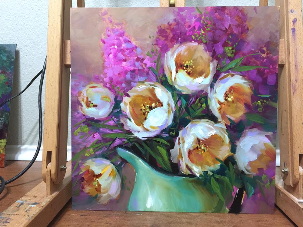 """When Disney Calls - Light Seeker White Tulips"" original fine art by Nancy Medina"
