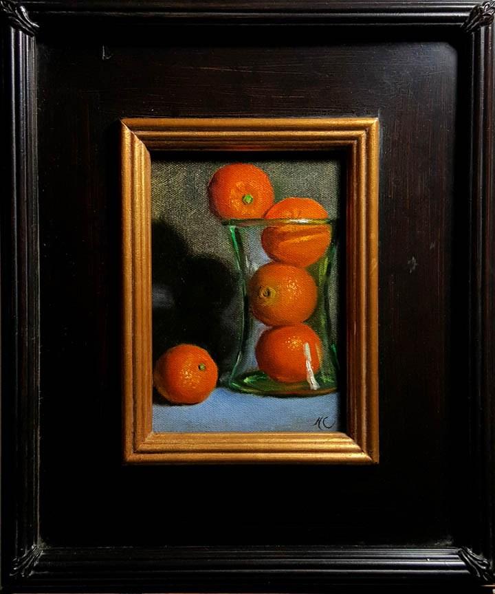 """""""Still life with oranges in vase"""" original fine art by Natalia Clarke"""