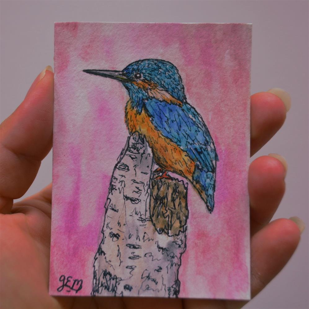 """Kingfisher Watercolor Aceo"" original fine art by Gloria Ester"