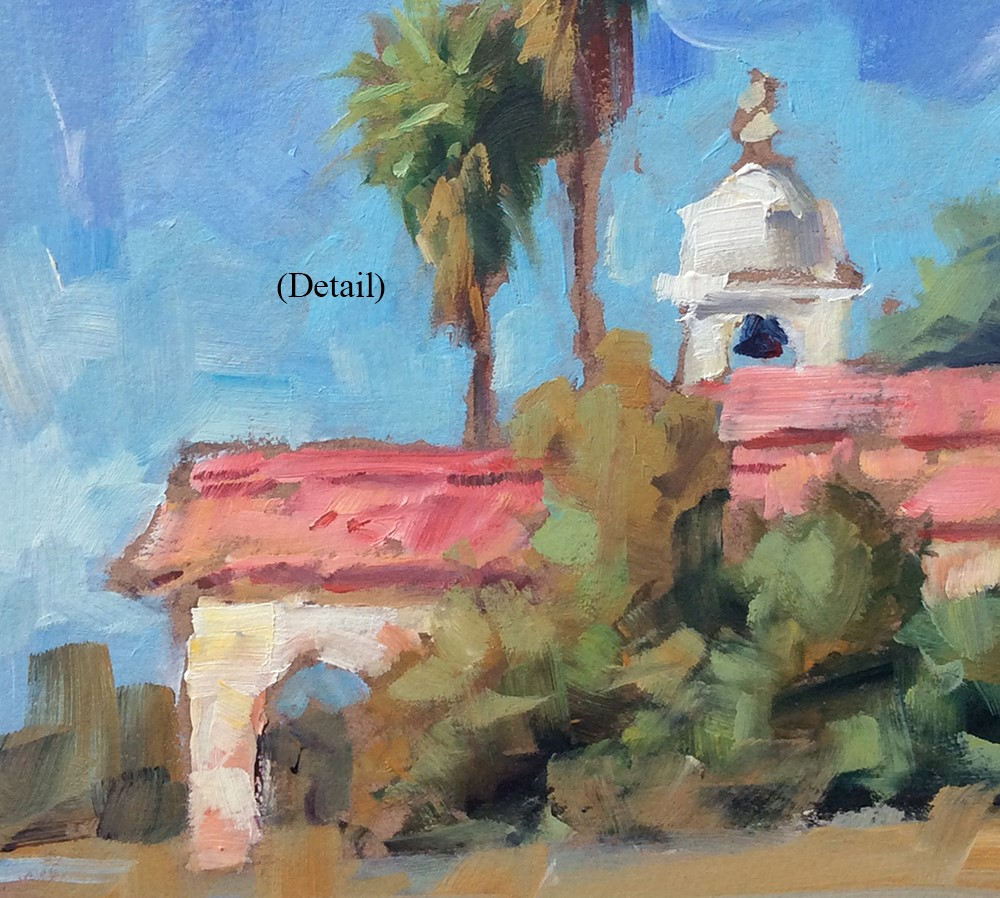 """""""PALM TREES & BELL TOWER"""" original fine art by Tom Brown"""