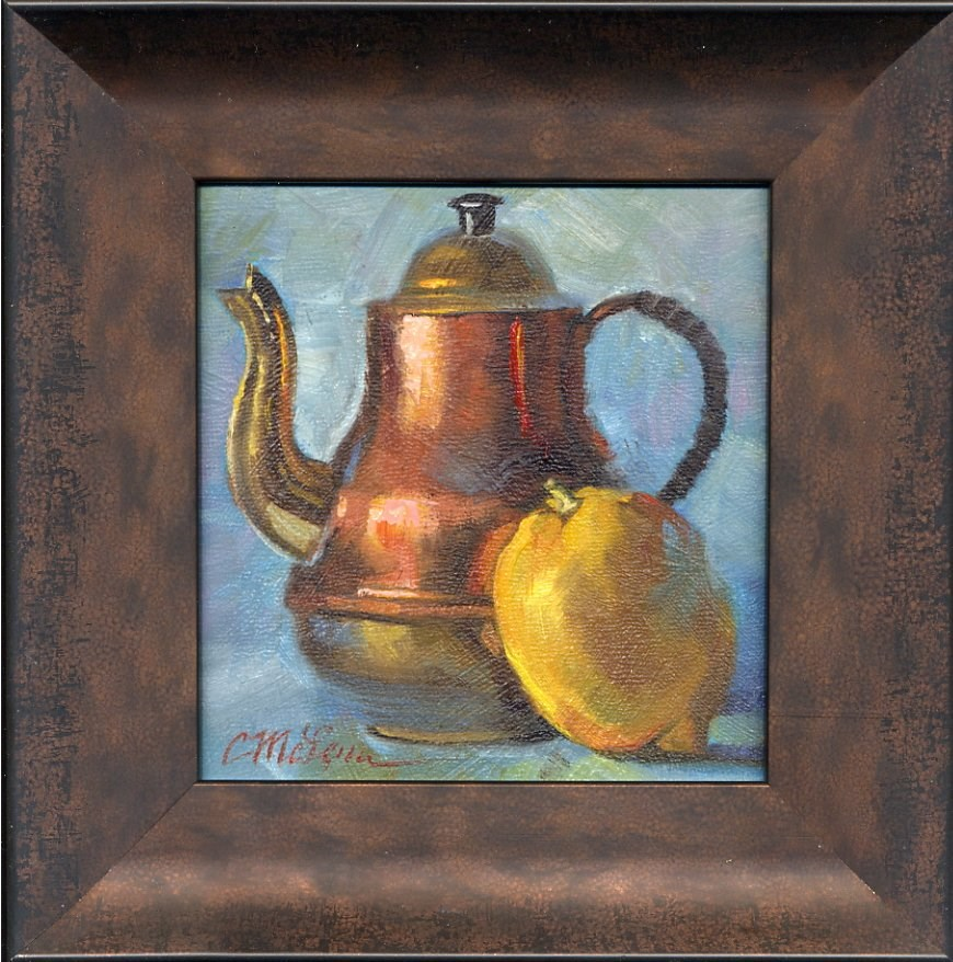 """Tea On Blue"" original fine art by Connie McLennan"