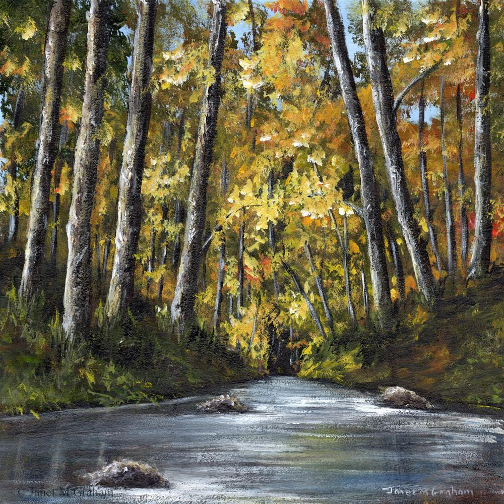 """Autumn River No 3"" original fine art by Janet Graham"