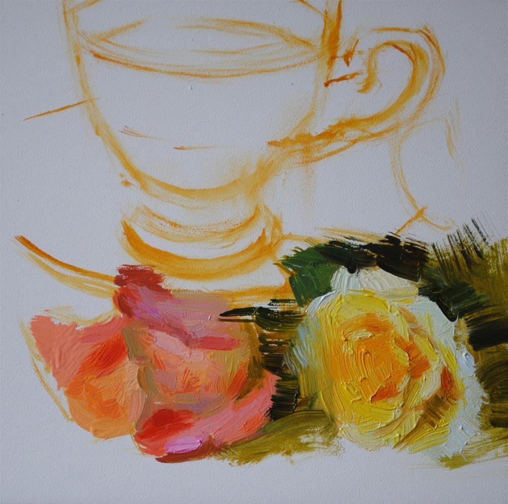 """Tea and Roses"" original fine art by Elena Katsyura"