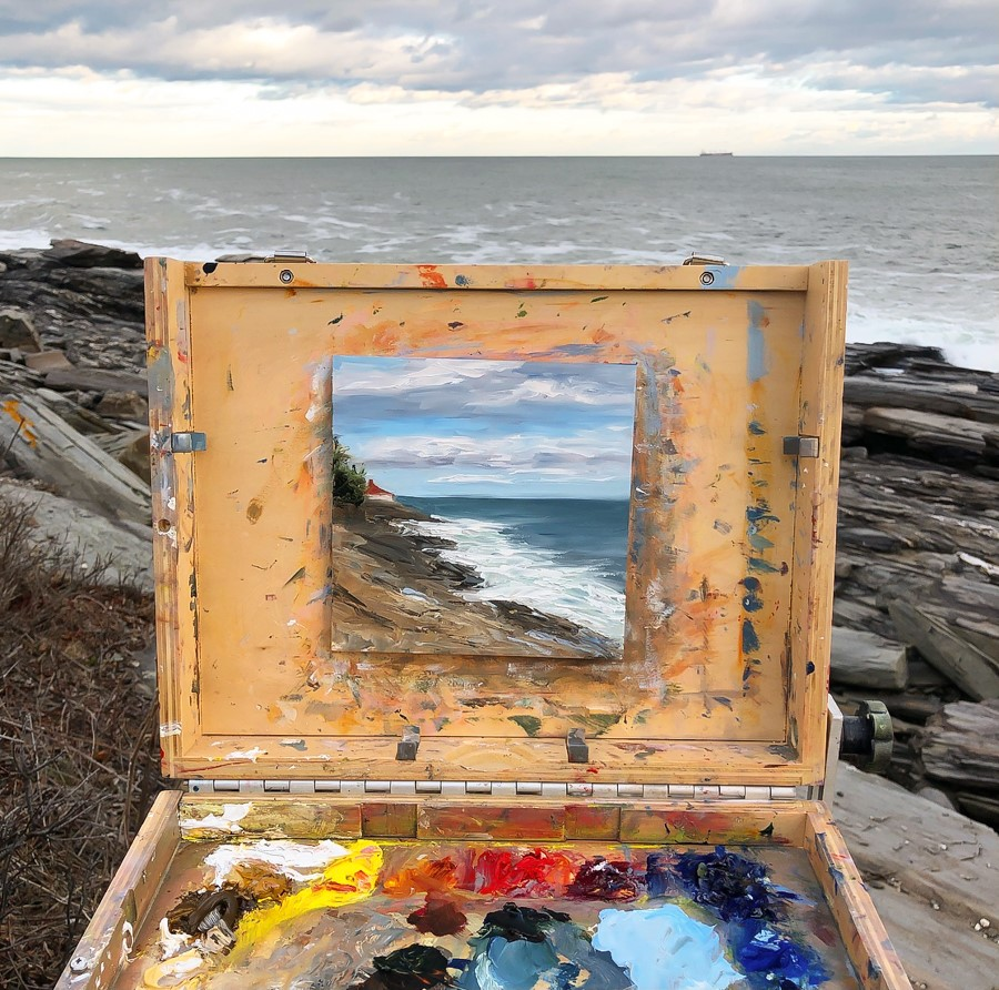 """""""#252 - Looking Towards Dyer Point, ME"""" original fine art by Sara Gray"""
