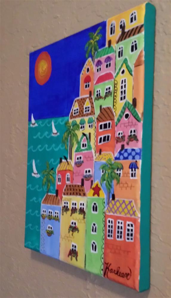 """Quaint Town By the Sea"" original fine art by Karleen Kareem"