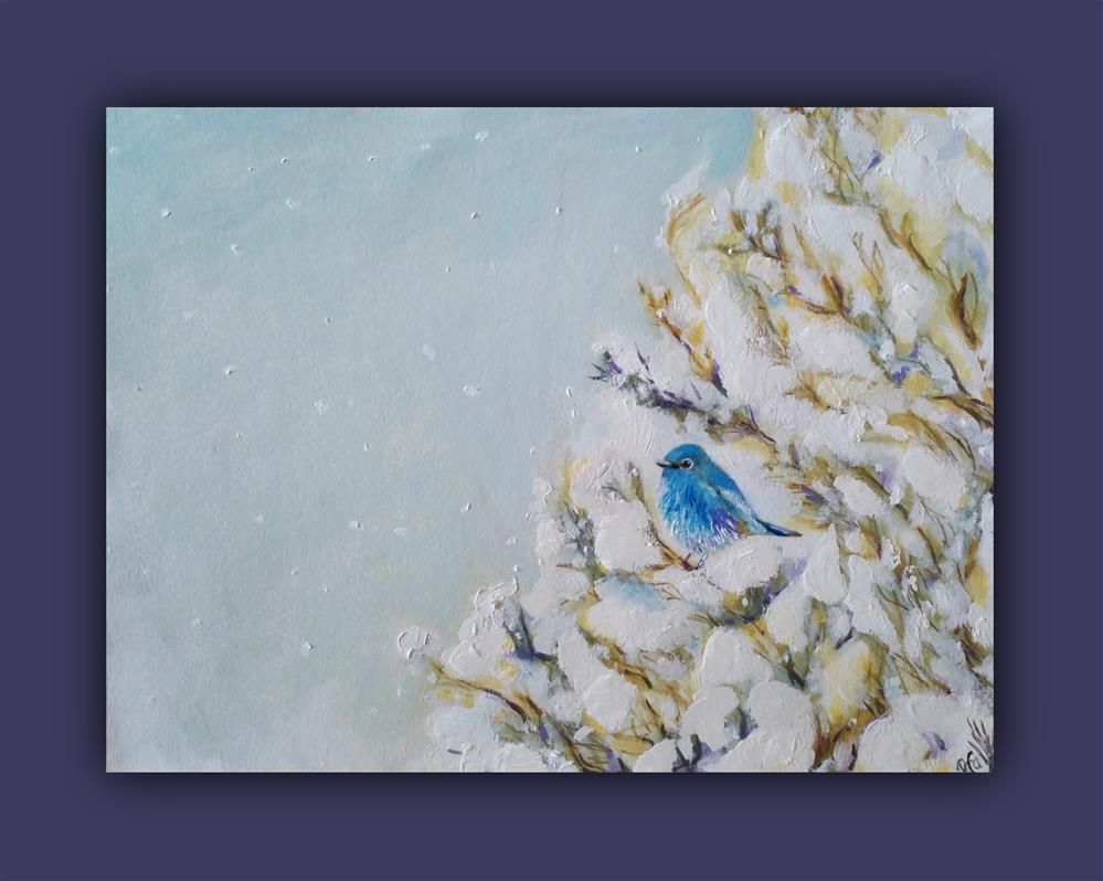 """Little Snow BlueBird"" original fine art by Dana C"
