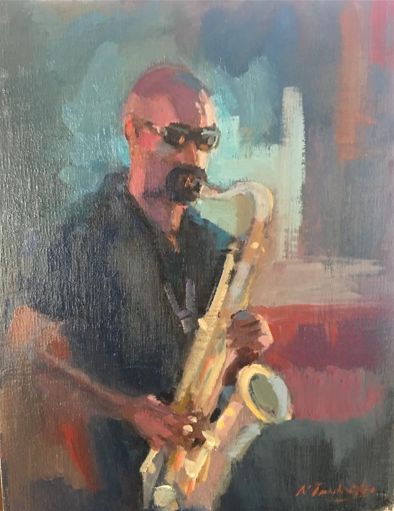 """""""Blues Man"""" original fine art by Nancy Tankersley"""