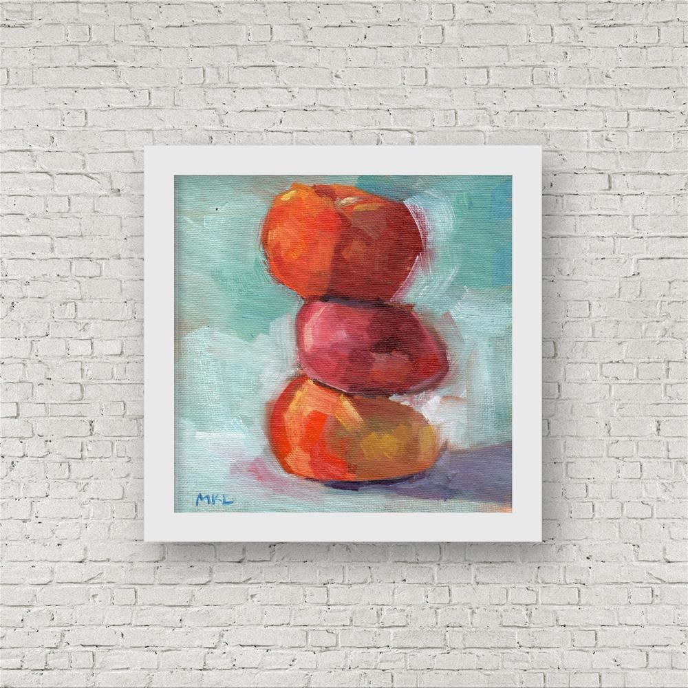 """Stacked Up Apricots"" original fine art by Marlene Lee"