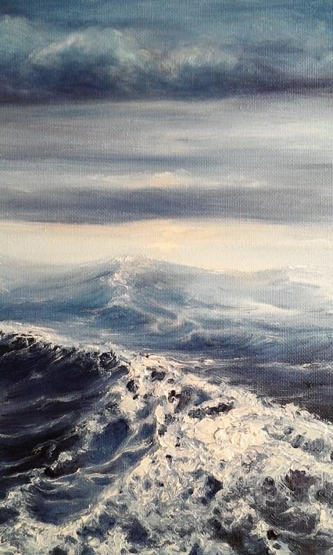 """Oil Painting Stormy Sea Seascape Ocean, Sky"" original fine art by Camille Morgan"