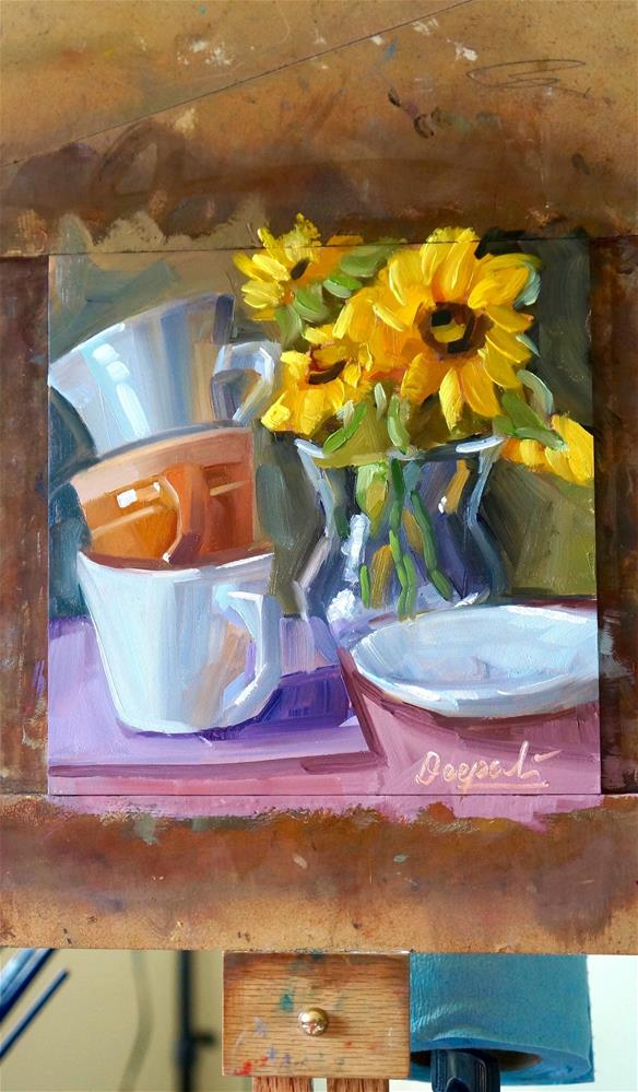 """stacked cups with sunflowers"" original fine art by Dipali Rabadiya"
