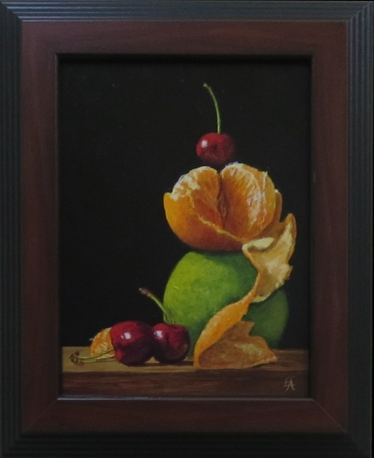 """Fruit Pyramid (framed)"" original fine art by Elizabeth Elgin"