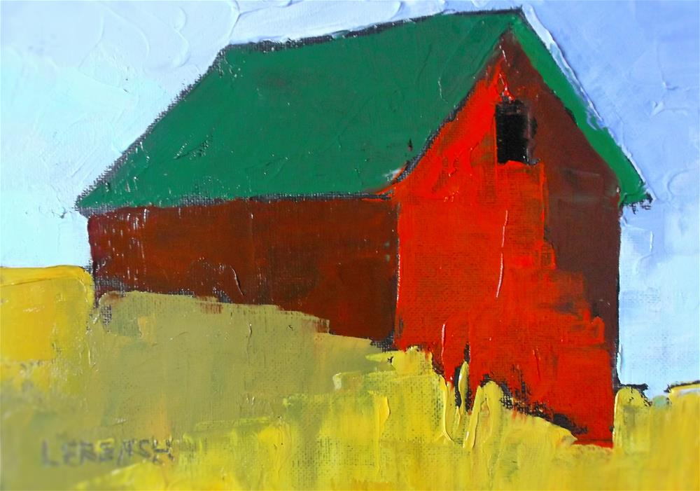"""Red Barn Golden Fields"" original fine art by lynne french"