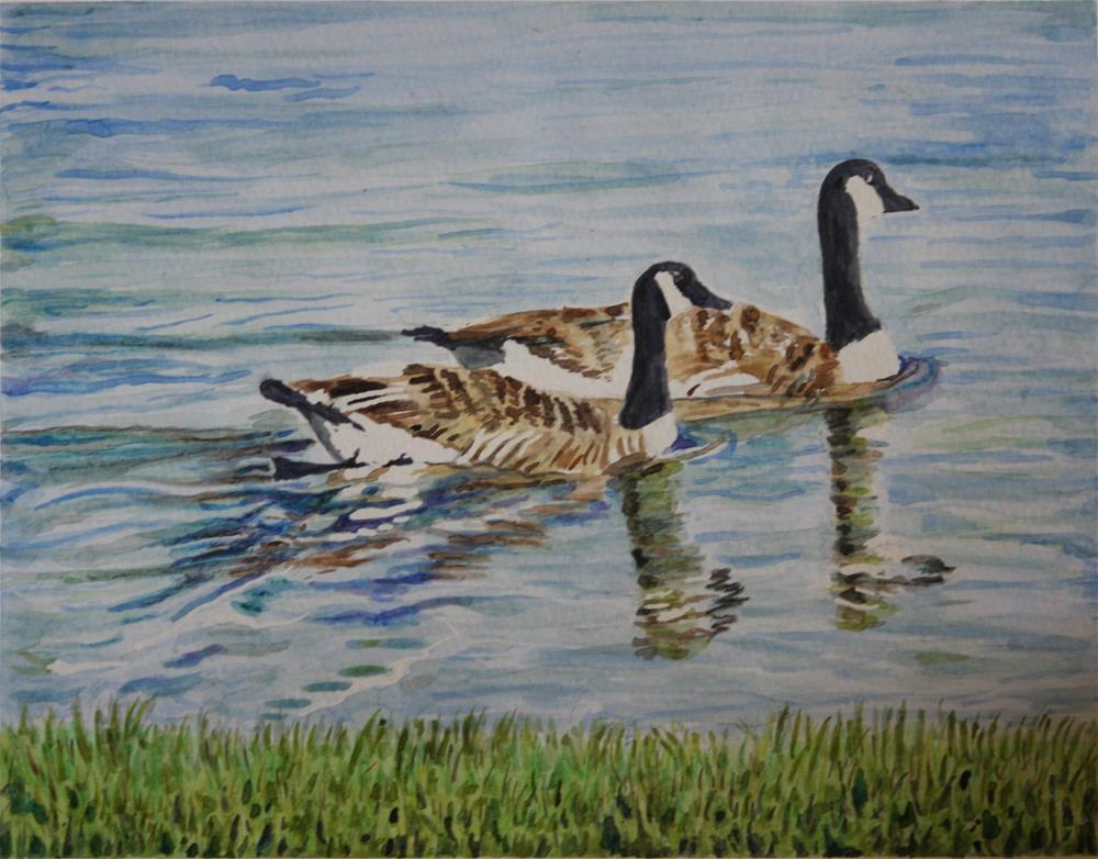 """Paddling Along"" original fine art by Terri-Anne Barge"