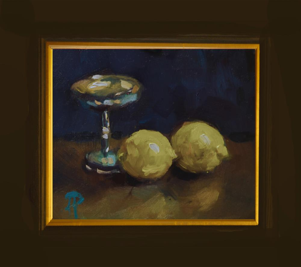 """""""Two Lemons and Silver Cup"""" original fine art by Andre Pallat"""