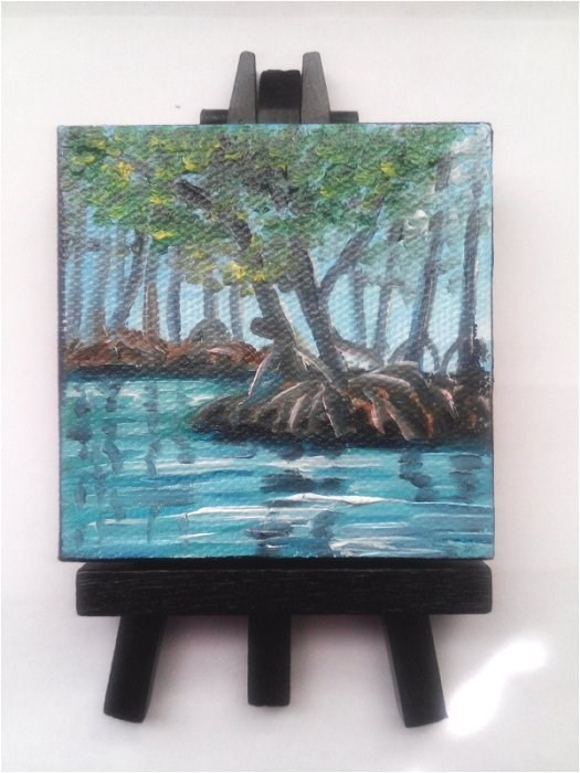 """Mini Oil Painting Mangrove Trees, River"" original fine art by Camille Morgan"