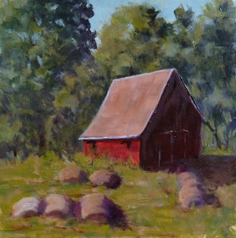 """Red Barn"" original fine art by Judith Anderson"