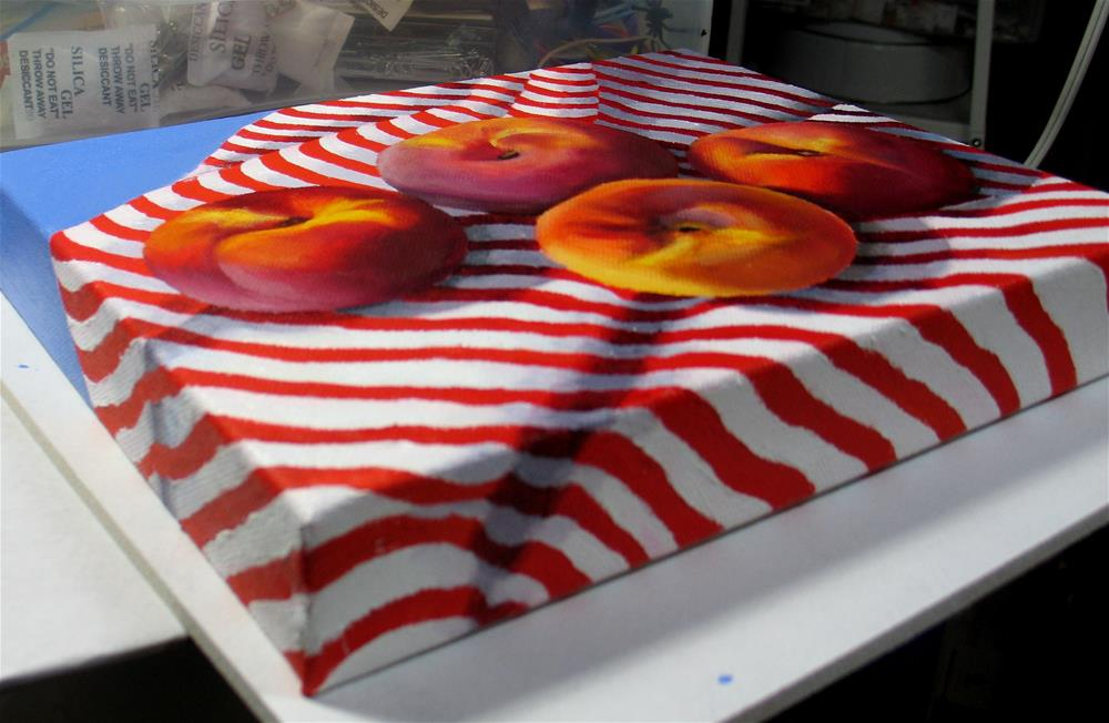 """Peaches on Stripes"" original fine art by Nel Jansen"