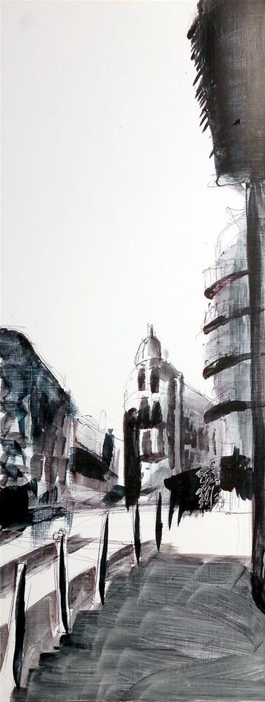 """2356 From Sketch to painting - Streetscene Lisbon"" original fine art by Dietmar Stiller"