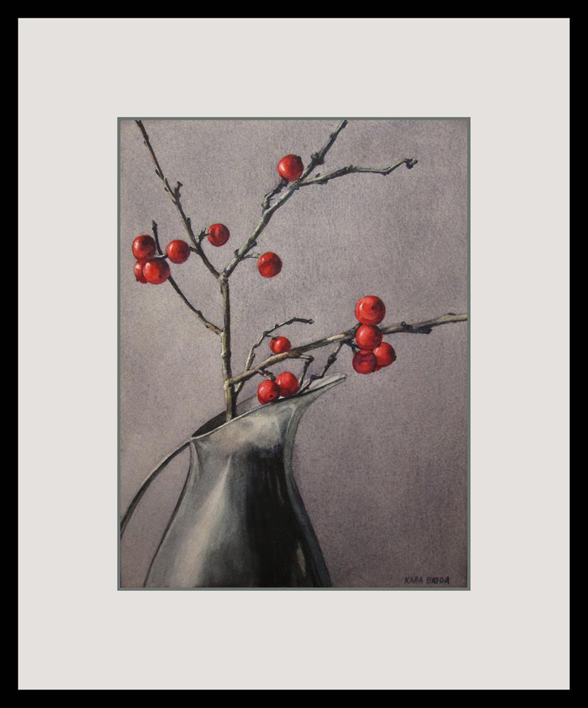 """Winterberries"" original fine art by Kara K. Bigda"