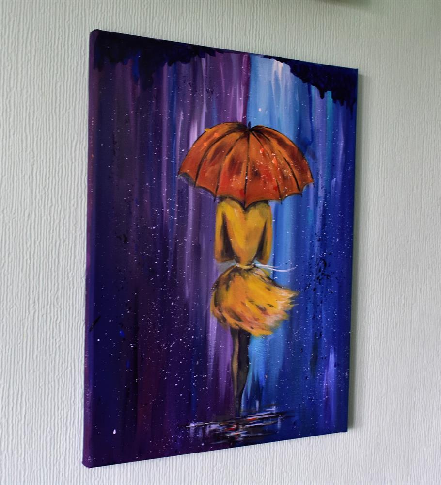 """A girl under the rain"" original fine art by Iryna Scott"