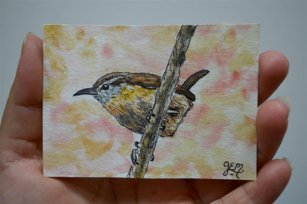 """Wren Watercolor ACEO"" original fine art by Gloria Ester"