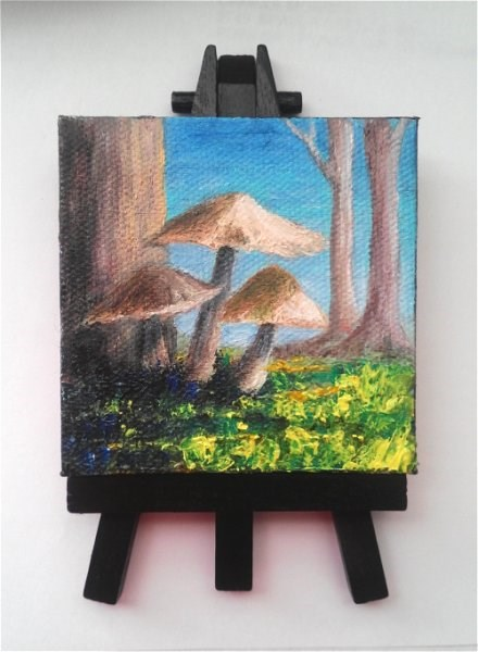 """Mini Oil Painting Mushrooms"" original fine art by Camille Morgan"