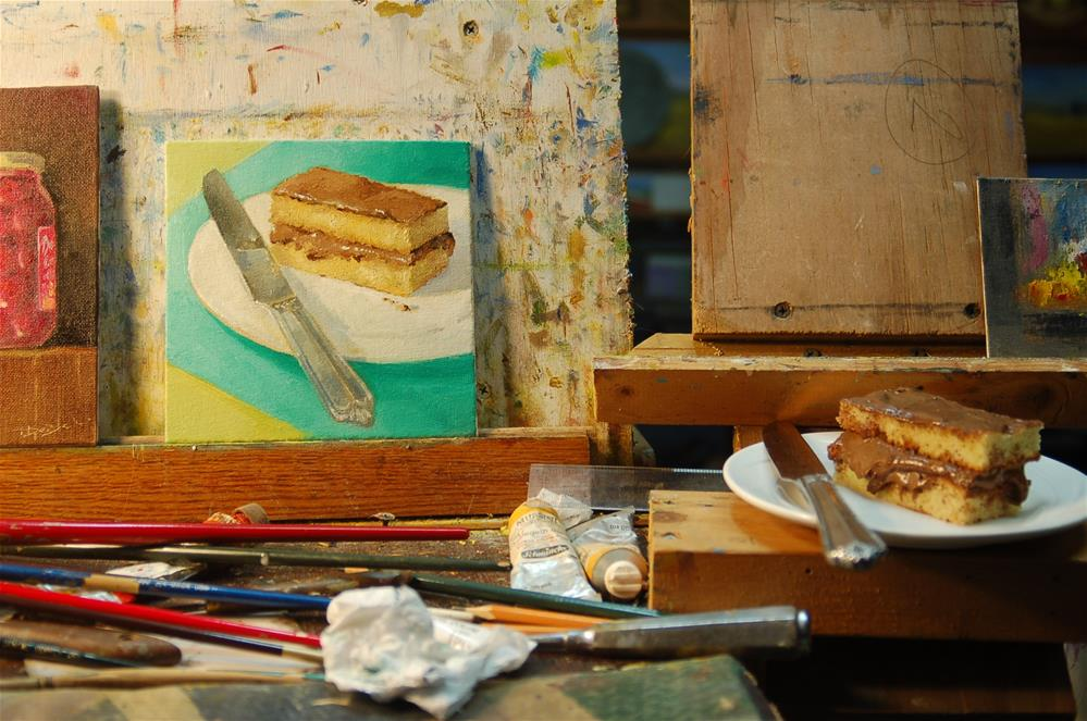 """slice of cake and a knife"" original fine art by Mark DeBak"