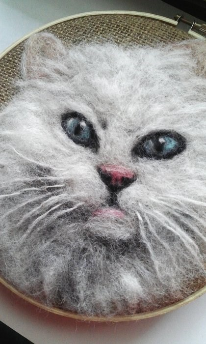 """White Cat with Blue Eyes"" original fine art by Camille Morgan"
