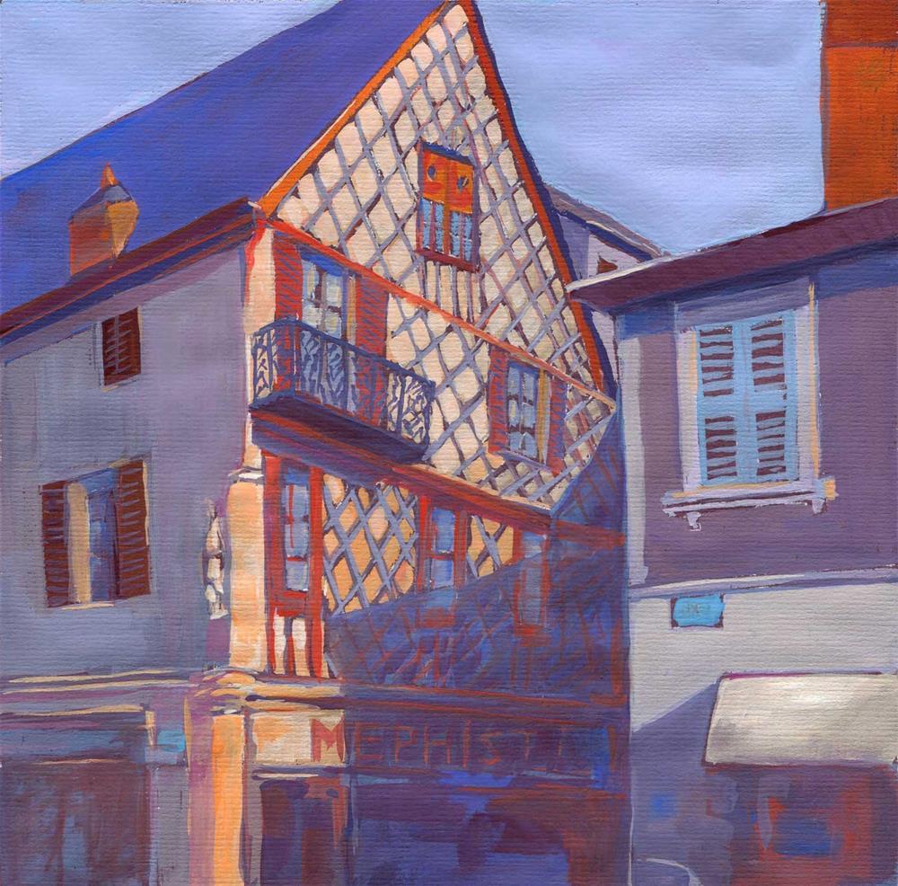 """Bourges balcony"" original fine art by Olga Touboltseva-Lefort"